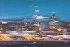 Aeropuerto (Landeanflug) 3, 2012, Öl auf Leinwand, 30 x 40 cm